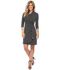 Karen Kane Cascade Wrap Dress Black Off White Women's Dress Multi