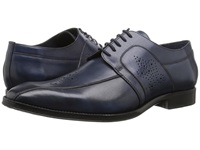 Messico Cristiano Navy Leather Men's Dress Flat Shoes Blue