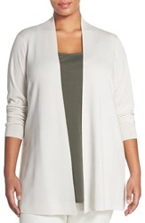 Plus Size Women's Eileen Fisher Long Straight Lightweight Merino Cardigan Bone