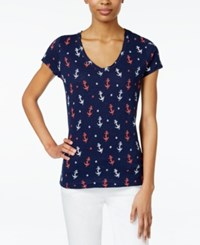 Maison Jules Anchor Print T Shirt Only At Macy's Blu Notte