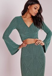 Missguided Wrap Glitter Crop Top Green Green
