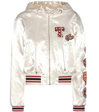 Tommy Hilfiger Satin Bomber Jacket With Applique White
