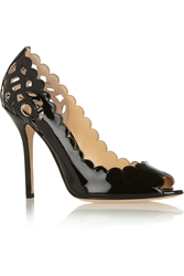 Oscar De La Renta Miss Elle Patent Leather Peep Toe Pumps Black