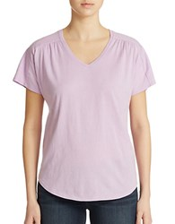Lord And Taylor Shirred V Neck Tee Lavender