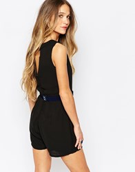 Daisy Street Playsuit With Open Back Black