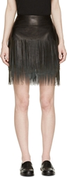 Blk Dnm Black Leather And Suede Fringed Skirt