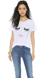 Sincerely Jules Lips And Lashes Tee Washed White
