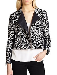 Laveer Leather Trimmed Leopard Print Wool And Cotton Jacket Pale Grey