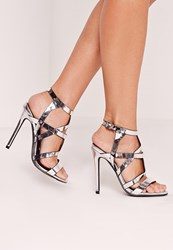 Missguided Sculptural Caged Heeled Sandals Silver Grey