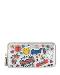Anya Hindmarch All Over Wink Sticker Large Zip Around Wallet Silver Multi
