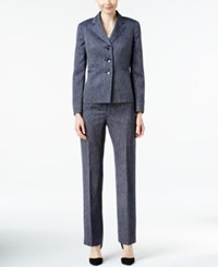 Le Suit Three Button Herringbone Pantsuit Navy