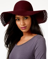 Nine West Perforated Floppy Felt Hat Burgundy