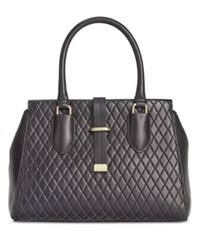 Calvin Klein Quilted Leather Small Satchel Black Gold