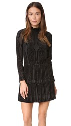 Shoshanna Burnout Velvet Ruffle Dress Jet