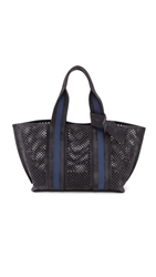 Pedro Garcia Perforated Tape Tote Coal With Navy Stripe