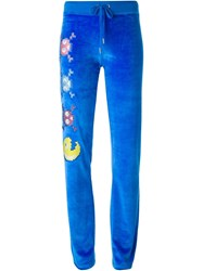 Philipp Plein 'Vegas' Embroidered Emoji Velvet Track Trousers Blue