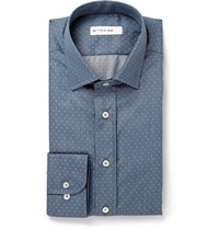 Etro Polka Dot Cotton Chambray Shirt Blue