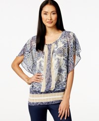 Styleandco. Style And Co. Flutter Sleeve Banded Hem Printed Top Only At Macy's Paisley Honey Glaze