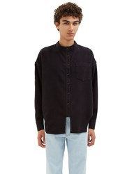 Eckhaus Latta Felted Twill Long Sleeved Shirt Black