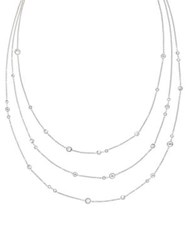 Michael Kors Modern Brilliance Crystal Three Strand Necklace Silvertone