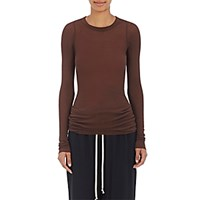 Rick Owens Women's Ribbed Long Sleeve Jersey T Shirt Burgundy