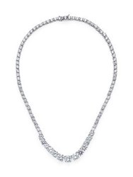 Kenneth Jay Lane Cubic Zirconia Round Necklace Silver Tone