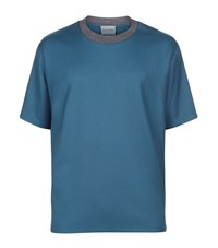 Solid Homme Contrast Collar T Shirt Male Blue