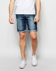 Blend Of America Blend Denim Shorts Twister Slim Fit Mid Wash Middle Blue