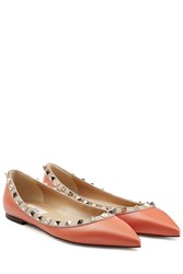Valentino Leather Rockstud Ballerinas Orange
