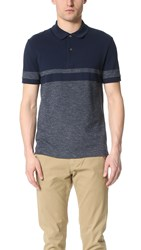 Lacoste Striped Pique Shirt Navy Blue Twilight Mouline