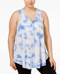 Calvin Klein Performance Plus Size Tie Dyed Relaxed Fit Tank Top Baja Blue