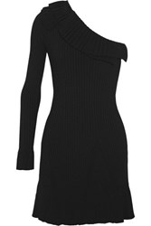 Emilio Pucci One Shoulder Ruffled Ribbed Knit Mini Dress Black