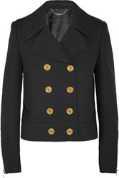 Alexander Mcqueen Double Breasted Wool And Silk Blend Twill Peacoat Black