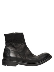 The Last Conspiracy Washed Leather Biker Boots Black