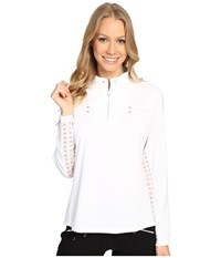 Jamie Sadock Long Sleeve Sunshirt With Square Print Mesh Panel Underarm Sugar White Women's Clothing