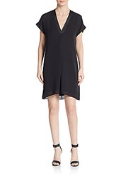 Vince Leather Trim Silk Shift Dress Black