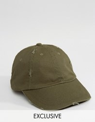 Reclaimed Vintage Distressed Baseball Cap In Khaki Green