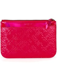 Kenzo Logo Embossed Clutch Pink And Purple