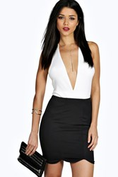 Boohoo Scalloped Hem Front Panel Mini Skirt Black