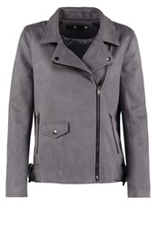 Missguided Faux Leather Jacket Dark Grey