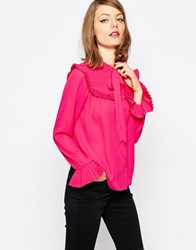 Asos Blouse With Pleated Collar And Ruffle Yoke Pink