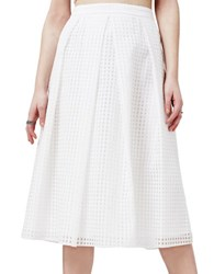 Miss Selfridge Checked Midi Skirt White