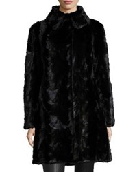 Gorski Reversible Mink Fur Down Feather Coat Black