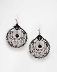 Designsix Intricate Drop Earrings Antiquesilver