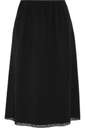 Prada Lace Trimmed Crepe Midi Skirt Black