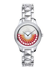Christian Dior Viii Grand Bal Limited Edition Diamond And Stainless Steel Bracelet Watch Silver Multi