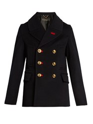 Burberry Double Breasted Wool Blend Pea Coat Navy