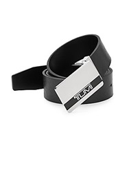 Tumi Reversible Logo Plaque Buckle Leather Belt