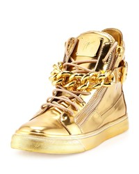 Men's Metallic Chain And Zipper High Top Sneaker Gold Giuseppe Zanotti