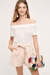Anthropologie Linen Off The Shoulder Tee White